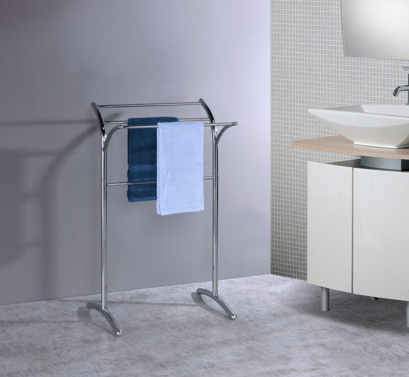 Kings Brand Furniture - Metal Free Standing Towel Rack Stand, Chrome