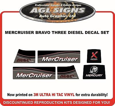 Mercury Mercruiser Bravo Three X Diesel Outdrive Reproductio Decal Kit  one two