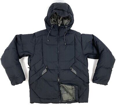 Salomon Mens Medium Black Quilted Down Insulated Double Zip Vented Hooded Jacket Double Zip Hooded Jacket