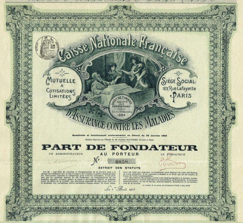 FRANCE HEALTH INSURANCE COMPANY stock certificate 1913 RARE