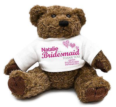 Personalised Teddy Bear BRIDESMAID Gift Idea Wedding memento Customised D1