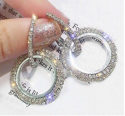 Ladies Fashion Jewelry 925 Sterling Silver & Rhinestone 1 1/2