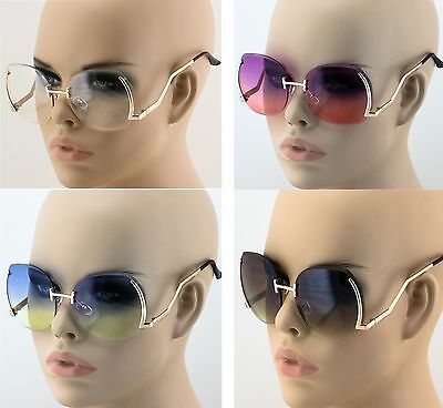 NEW Vintage Sunglasses Oversized Round Unique Half Rim Women Fashion Shades 2019 ()