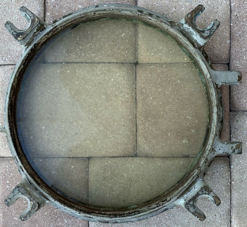 """Vintage Ship Porthole HEAVY Brass THICK Glass boat window 26 lb 17"""" old nautical"""