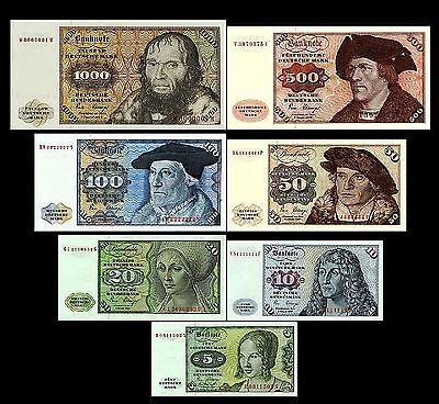 *** 5 - 1000 Deutsche Mark 7 Banknoten Ausgabe 1970 - 1980 BBk I - P30 - P36 ***