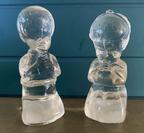Sweet Praying Boy & Girl by Fenton in Clear Glass ~ EUC