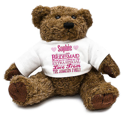 Personalised Teddy Bear BRIDESMAID Gift Idea Wedding Thank you Customised D5