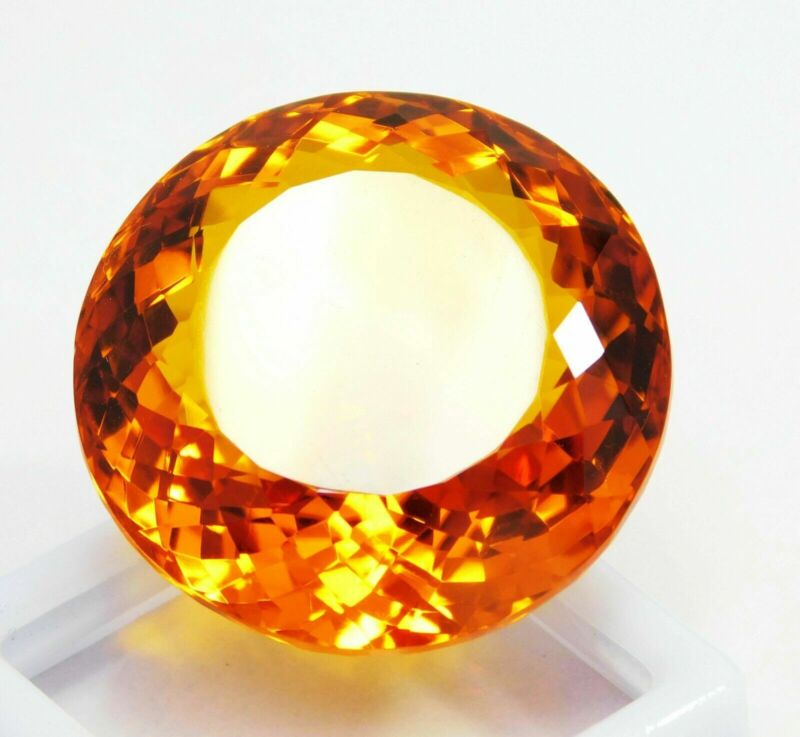 Natural Certified Round 78 Ct Imperial Color Translucent Topaz Loose Gemstone