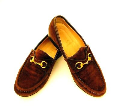 GUCCI Women's Vintage Brown Suede Iconic Horsebit Loafers Leather Sole 7AA $675