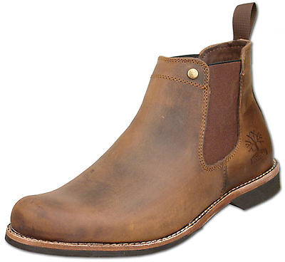 UK Size 10 Mens Brown Crazy Horse Leather Slip On Chelsea Ankle Boots
