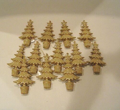 12 NEW RAZ GOLD GLITTER CHRISTMAS TREE ORNAMENTS XMAS ORNAMENT GLITTERED