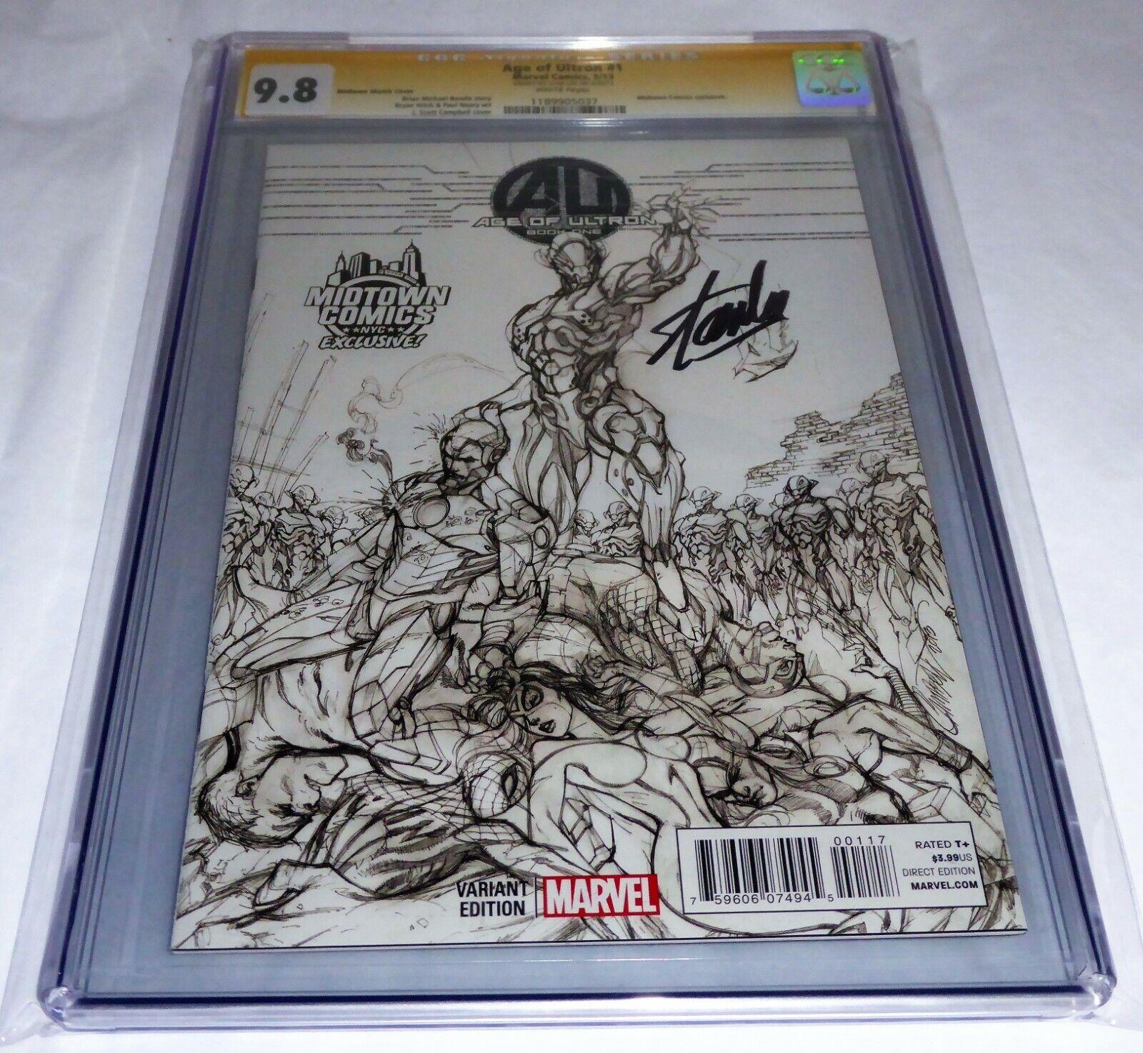 Age of Ultron #1 CGC SS Signature Autograph STAN LEE Midtown Comics 9.8 Sketch