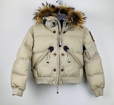 Parajumpers Girls Down Fur Trim Hood Bomber Jacket Coat Size 8 Beige