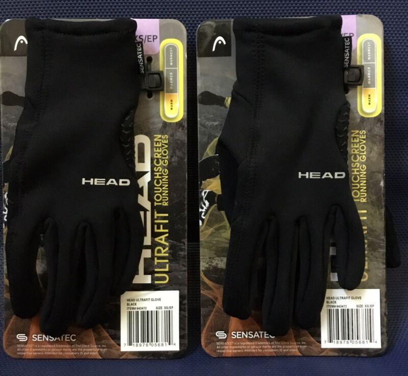 Lot Of 2 Pair HEAD Men's Touchscreen Running Gloves X-Small Black BRAND NEW!(NS)
