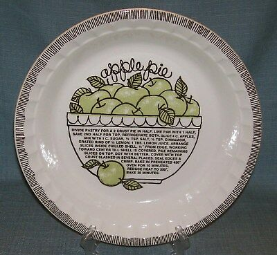 Vintage Royal China Jeannette-Deep Dish APPLE Pie Plate/ Baker w/ Recipe EVUC Deep Dish Apple