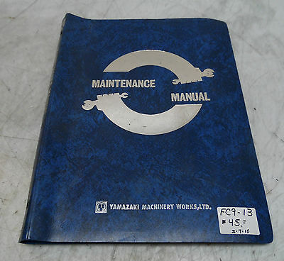 Mazak Maintenance Manual for Mazak Power Center VS-20, Serial# 62815, Used