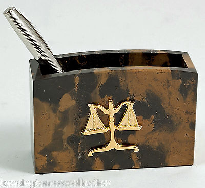 DESK ACCESSORIES -  SCALES OF JUSTICE MARBLE PEN HOLDER - LEGAL PROFESSION
