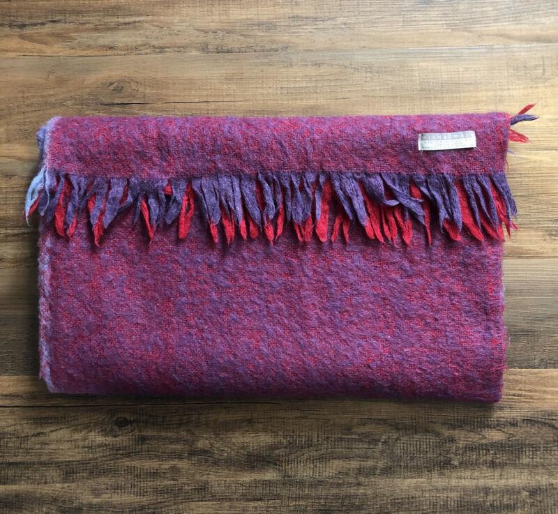 Masterweave Windermere 100% New Zealand Mohair Wool Throw Blanket In Berry