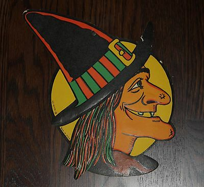 Vintage Beistle Witch Yellow Moon Halloween Diecut  Vibrant Decoration