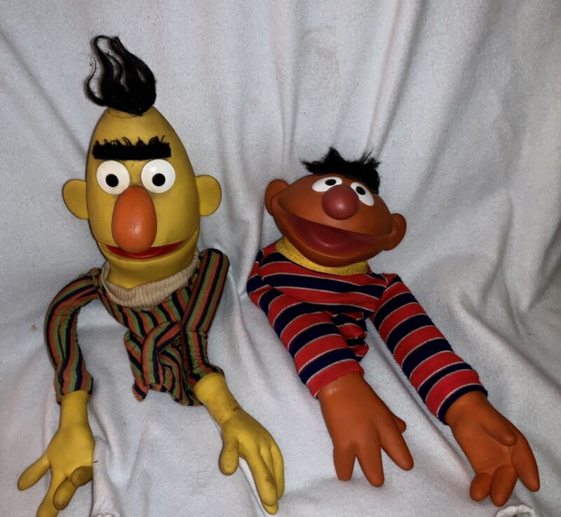 Vintage Bert and Ernie Sesame Street Muppets Hand Puppets