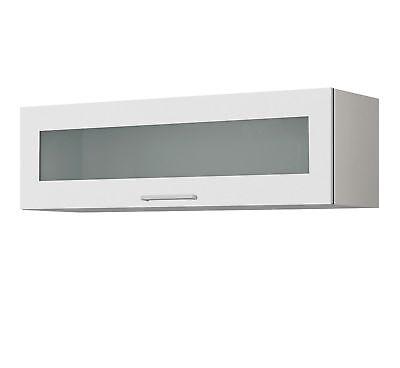 Glas-Hängeschrank MÜNCHEN Küchenschrank Oberschrank mit Glasklappe 100 cm weiss
