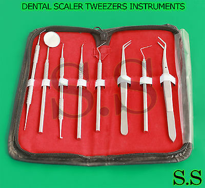 Pro Set Dental Scaler Tweezers Dentist Instruments Pick Tool Kit Pr-110