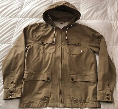 Vans Off The Wall Green Military Style Hooded Jacket Coat Size XL Mens