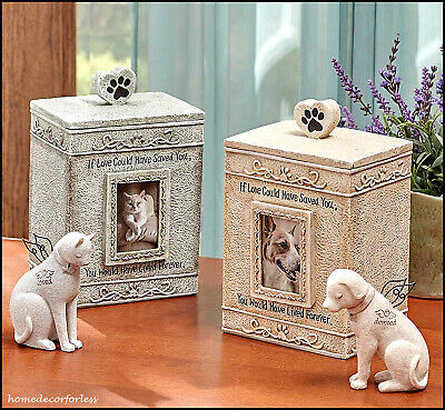Angel Dog Cat Pet Memorial Statue Figurine or Cremation Urn Cemetery Grave Stone - Angel Dog