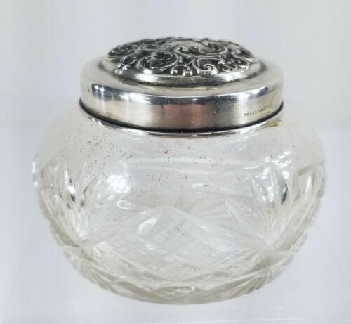 Antique Whiting Sterling Silver Covered Pressed Glass Dresser Jar Scent Bottle