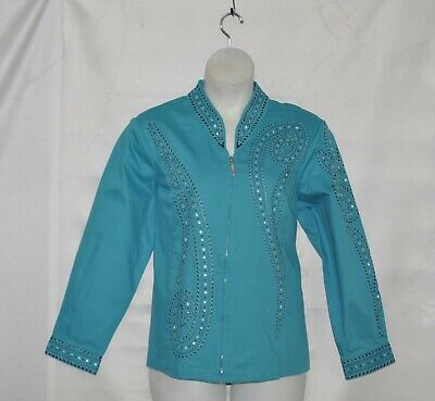 Bob Mackie Zip Front Jacket with Stud Detail Size 1X Turquoise