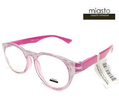 MIASTO RETRO ROUND PREPPY READER READING GLASSES+1.75 PEARL WHITE PINK (BIFOCAL)