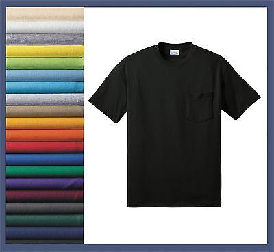 MEN'S T-SHIRT, SHORT SLEEVE, CREWNECK, 50/50 COTTON/POLY BLEND, POCKET, (Cotton Short Sleeve Crewneck T-shirt)