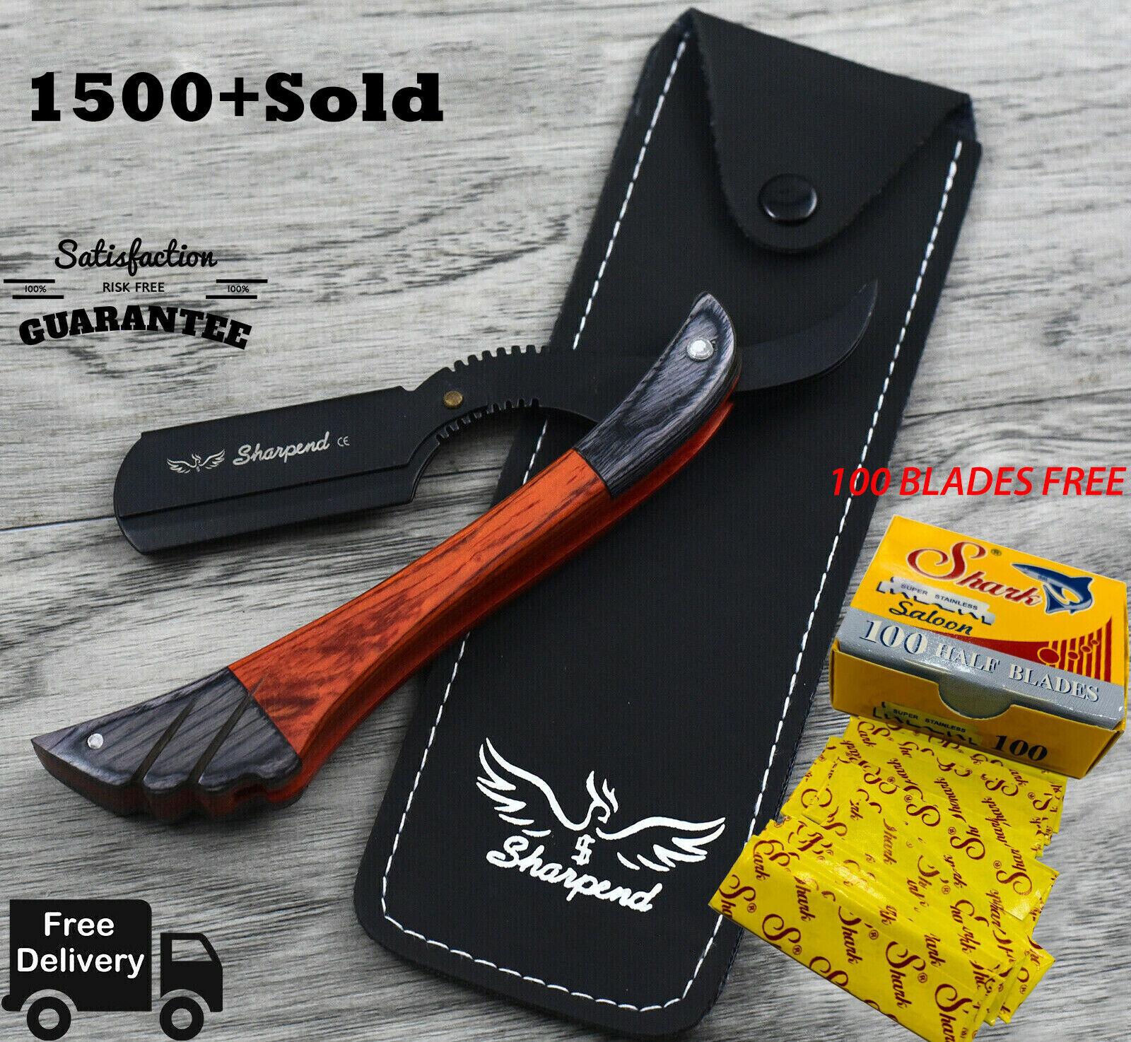 100 Blades + Wood Handle Straight Edge Barber Hair Shaving Razor Folding Knife