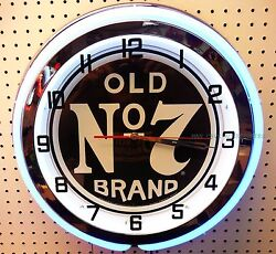 19 Jack Daniels Old  No 7 Brand Logo Sign Double Neon Clock No7
