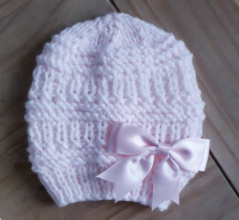PINK/Newborn Hand made Double Knitted Baby Beanie/0-3 MTHS