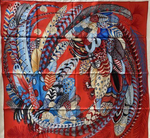 NWT Authentic Hermes 100 Silk Scarf Plumes En Fete RedBlueBeige 90 cm wbox