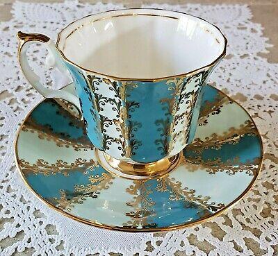 Vintage Teal Blue Teacup & Saucer Set #4461 Fine Bone China Elizabethan England