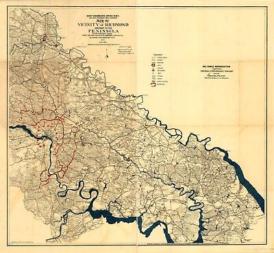 A4 Reprint of American Cities Towns States Map Richmond Virginia