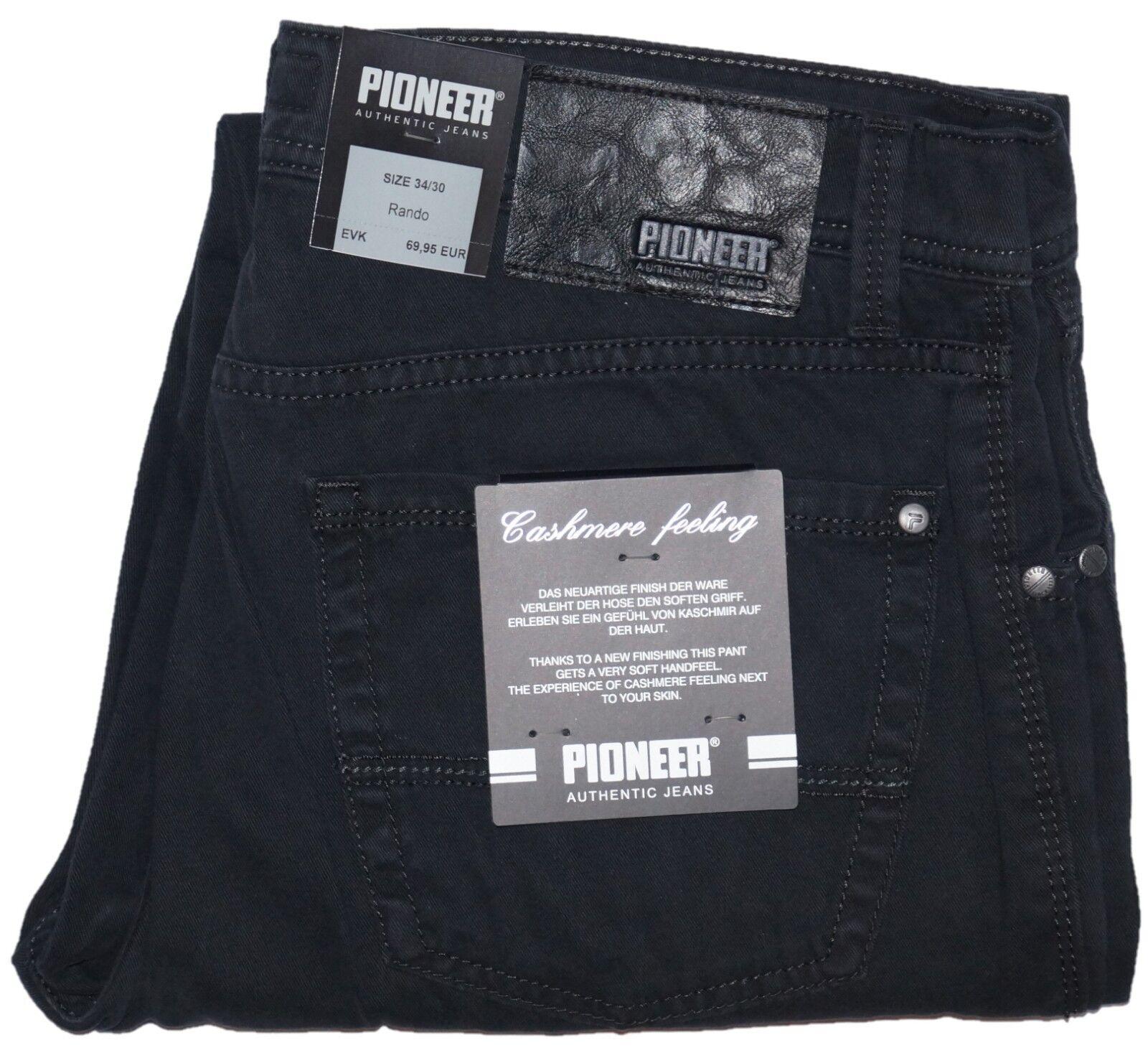 PIONEER® Herren JeansHose Stretch FIVE POCKET wie RANDO SCHWARZ Sommer Stoffhose