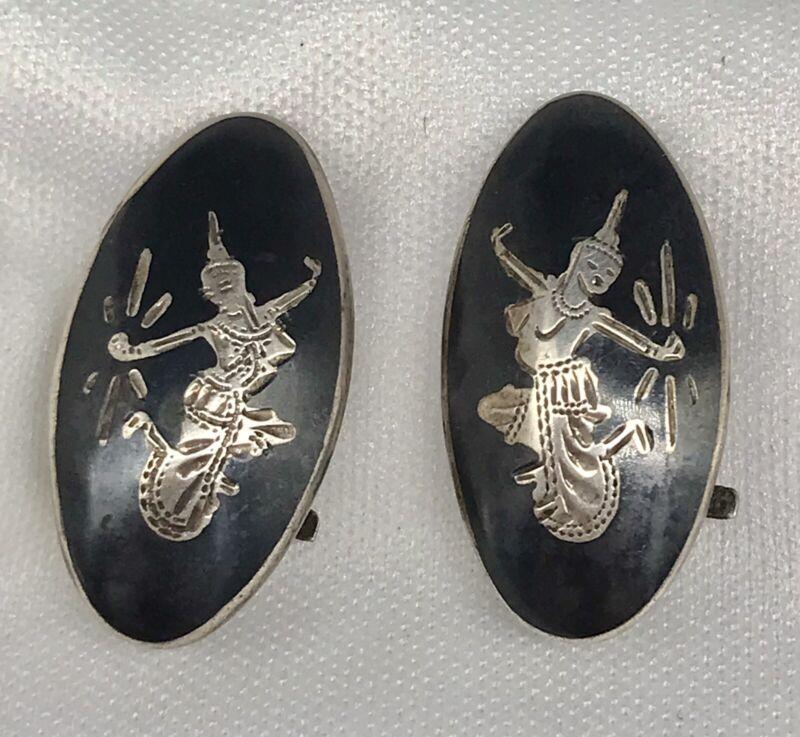 Vintage Siam Sterling Clip On Earrings - Dancers