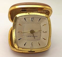VINTAGE 1960'S WESTCLOX TRAVEL ALARM CLOCK GENUINE COWHIDE CASE ~OILED AND RUNS~
