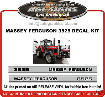 1985 Massey Ferguson 3525 Tractor Decal Set Reprocduction 3545