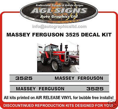 1985 Massey Ferguson 3525 Tractor Decal Set Reprocduction 3545