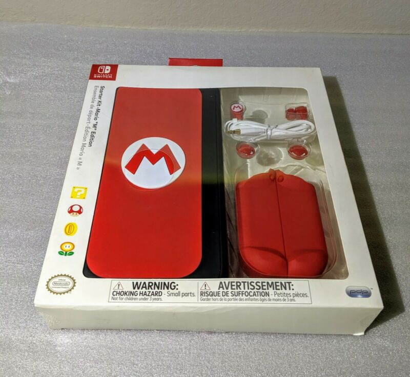 """PDP Nintendo Switch Starter Kit - Mario """"M"""" Edition Carry Case and Accessories"""