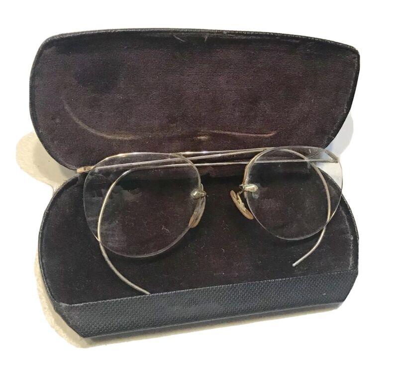 Vintage Antique 1930' Gold 12K Spectacles Eye Glasses Lens W/Haumann PA Case