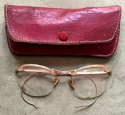 Vintage Cat Eye Glasses w/ Curved Temples - Comes w/ Red Leather Case