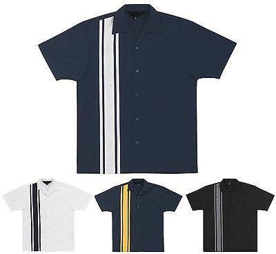 Racing Short Sleeve Twill Shirt (MEN'S RACE STRIPE, TWILL CAMP SHIRT, SHORT SLEEVE, POCKET, RACE WEAR, S-4XL )
