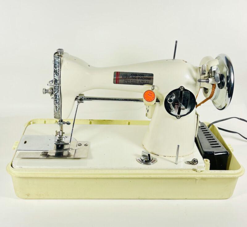 Rare Vintage Johnson Ruffler Ruffling Sewing Machine With Cord Pedal & Case