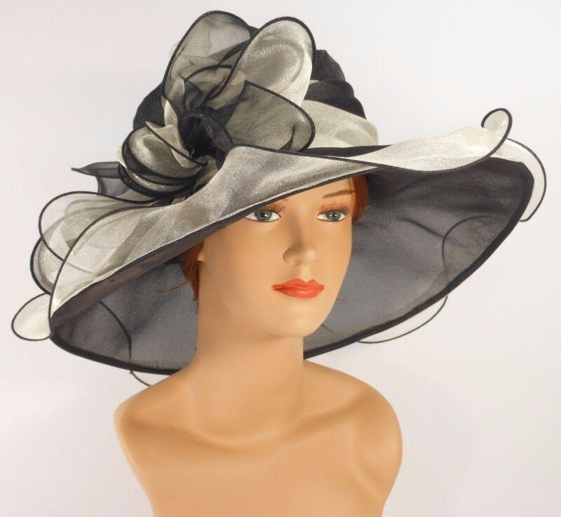 New Church Kentucky Derby Wedding Party Organza  Dress Hat 2967 Black/light gray
