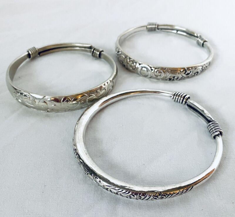 3 Antique Original Silver Bracelet Tibetan Silver ADJUSTABLE COILED ENDS 138-gr